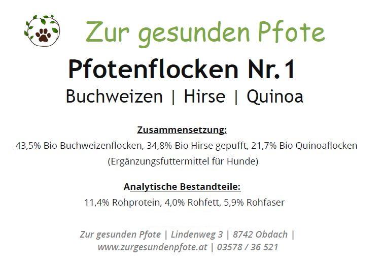 Pfotenflocken Nr.1 - glutenfrei - Buchweizen | Hirse | Quinoa