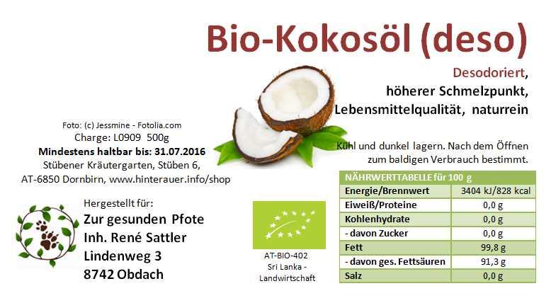 Bio Kokosöl geschmacksneutral - abstoßend gegen Zecken