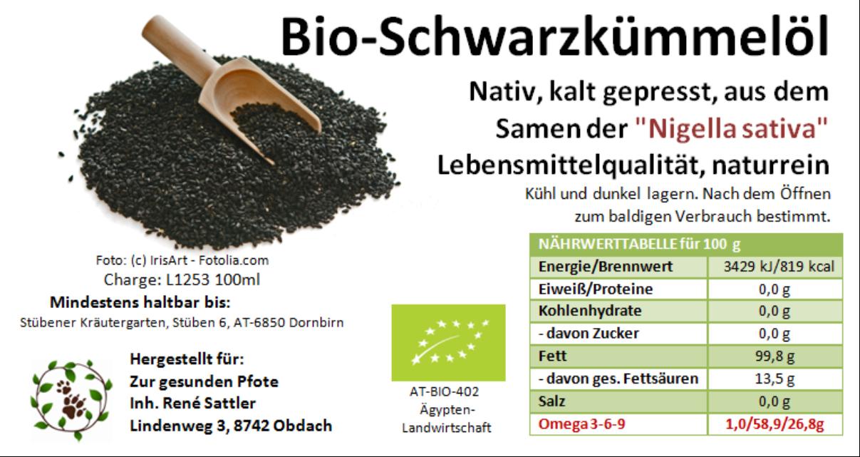 Bio Schwarzkümmelöl - abstoßend gegen Zecken